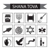 Ajuste ícones no ano novo judaico, ícone preto da silhueta, Rosh Hashanah, Shana Tova Estilo liso dos ícones dos desenhos animado Imagem de Stock
