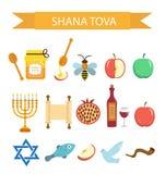 Ajuste ícones no ano novo judaico, Rosh Hashanah, Shana Tova Estilo liso dos ícones dos desenhos animados Imagem de Stock