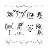 Ajuste ícones sobre a fotografia do casamento Fotos de Stock Royalty Free