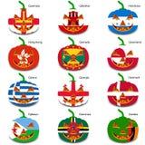 Ajuste abóboras para Dia das Bruxas como bandeiras do mundo Foto de Stock