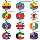 Ajuste abóboras para Dia das Bruxas como bandeiras do mundo Fotografia de Stock Royalty Free