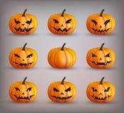 Ajuste abóboras para Halloween Fotos de Stock