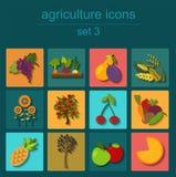 Ajuste a agricultura, cultivando ícones Foto de Stock