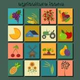 Ajuste a agricultura, cultivando ícones Fotografia de Stock Royalty Free