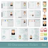 Ajuste amostras de bilhetes e de certificados dos cartões dos originais Imagens de Stock