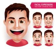 Ajuste as emoções principais do homem em 3D realísticas com a expressão facial diferente isolada Imagens de Stock