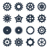 Ajuste as engrenagens mecânicas pretas dos ícones Fotografia de Stock