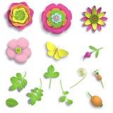 Ajuste as flores cor-de-rosa selvagens de papel do ofício 3D dos elementos, as bagas do rosehip e o teste padrão sem emenda da bo Imagem de Stock
