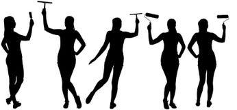 Ajuste as silhuetas da mulher que fazem a melhoria da casa Imagem de Stock