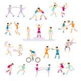 Ajuste atividades dos povos do esporte ilustração royalty free