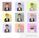 Ajuste avatars do negócio, ícones lisos das imagens do perfil Barbas na moda, vidros Imagem de Stock Royalty Free