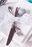 Ajuste azul y de plata elegante de la tabla de la Navidad Imagen de archivo libre de regalías