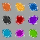 Ajuste a bandeira do respingo do Grunge O vetor chapinha etiquetas com espaço para o texto Etiqueta de Grunge ilustração royalty free