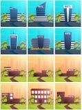 Ajuste bandeiras da construção do hotel Residencial Curso e viagem ilustração stock