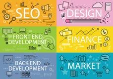 Ajuste bandeiras Seo Design Finance Flat ilustração royalty free