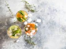 Ajuste bebidas frias do verão com o citrino diferente nos vidros em um fundo cinzento O cocktail com toranja, laranja, cal do lim Foto de Stock Royalty Free