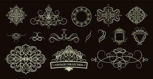 Ajuste beiras, quadro e roseta do vintage Decoração para o logotipo, nós ilustração royalty free