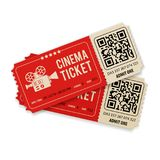 Ajuste bilhetes do cinema Fotografia de Stock Royalty Free
