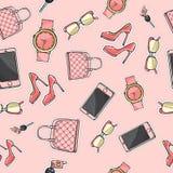 Ajuste a bolsa Vidros cellphone Sapatas Perfume ilustração stock