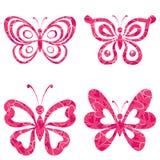 Ajuste borboletas com teste padrão Fotografia de Stock