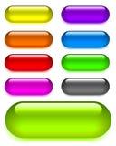 Ajuste botões de vidro brilhantes da Web Ilustração do vetor ilustração do vetor