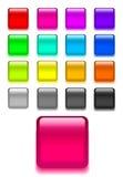 Ajuste botões de vidro brilhantes do vetor da Web ilustração do vetor