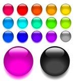 Ajuste botões de vidro brilhantes do vetor da Web ilustração royalty free