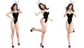 Ajuste Bunny Girl Pés longos da mulher 'sexy' Sapatas vermelhas do roupa de banho Imagens de Stock Royalty Free