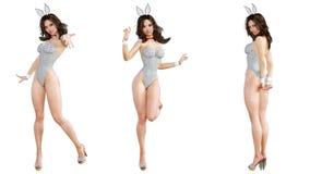 Ajuste Bunny Girl Pés longos da mulher 'sexy' Sapatas vermelhas do roupa de banho Fotografia de Stock