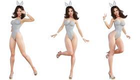 Ajuste Bunny Girl Pés longos da mulher 'sexy' Sapatas vermelhas do roupa de banho Fotos de Stock Royalty Free