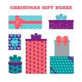 Ajuste caixas de presente do Natal Fotos de Stock
