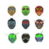 Ajuste capacetes e máscaras para esportes Máscaras horríveas diabólicos scary ilustração stock