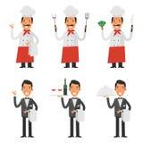 Ajuste caráteres cozinheiro chefe e garçom Imagens de Stock
