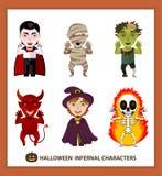 Ajuste 6 caráteres infernais para o feriado de Dia das Bruxas Fotografia de Stock Royalty Free