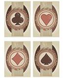 Ajuste cartões do pôquer do casino no estilo do vintage Imagem de Stock