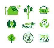 Ajuste a casa do eco dos ícones, a energia de salvamento e a água, reciclagem do lixo Imagens de Stock