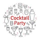 Ajuste cocktail do esboço e bebidas do álcool ilustração royalty free