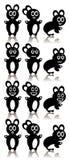 Ajuste coelhos pretos dos desenhos animados três ilustração do vetor