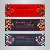 Ajuste a coleção das bandeiras com fundos geométricos abstratos Moldes do projeto para seus projetos fotos de stock