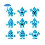 Ajuste, coleção de caráteres da gota da água das emoções no estilo liso no fundo branco Foto de Stock Royalty Free