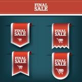 Ajuste, coleção do ícone vermelho da etiqueta do vetor da fita da venda final para a promoção do produto e compra Projeto do marc ilustração do vetor