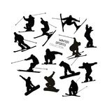 Ajuste a coleção do esquiador alpino preto s e das silhuetas dos snowboarders isoladas no fundo branco Imagens de Stock