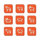 Ajuste com ícones - animais em uma exploração agrícola Imagens de Stock Royalty Free