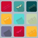 Ajuste com ícones da cruz do esqui Imagem de Stock Royalty Free