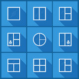 Ajuste com ícones da janela ilustração stock