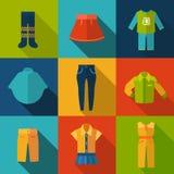 Ajuste com ícones da roupa Imagem de Stock Royalty Free