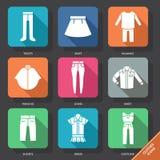 Ajuste com ícones da roupa Imagens de Stock Royalty Free