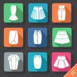 Ajuste com ícones das saias Imagens de Stock
