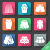 Ajuste com ícones das saias Fotografia de Stock