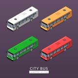Ajuste com ícones do ônibus da cidade Foto de Stock